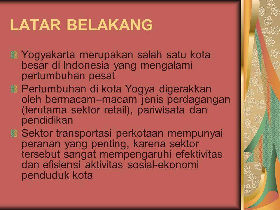 LATAR BELAKANG Yogyakarta merupakan salah satu kota besar di Indonesia yang mengalami pertumbuhan pesat.