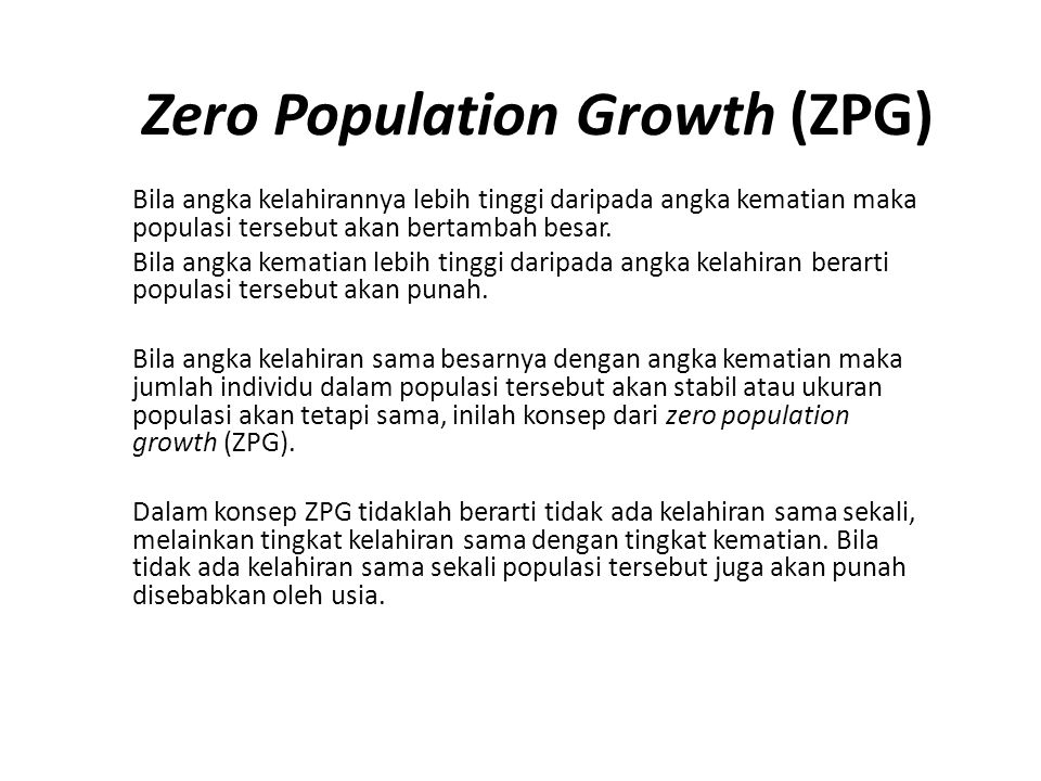 Zero Population Growth (ZPG)