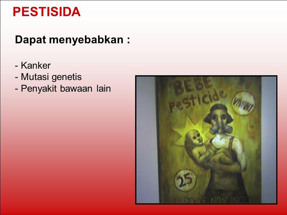 PESTISIDA Dapat menyebabkan : Kanker Mutasi genetis