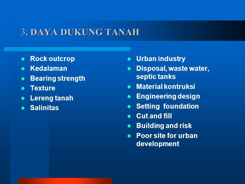 3. DAYA DUKUNG TANAH Rock outcrop Kedalaman Bearing strength Texture