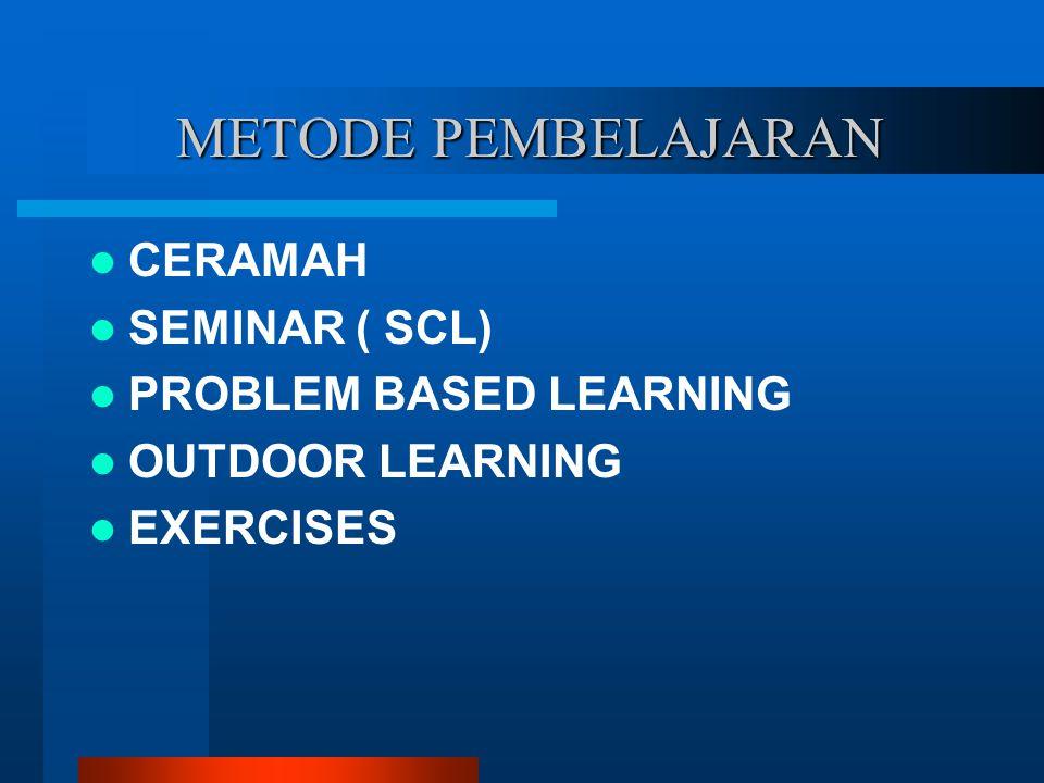 METODE PEMBELAJARAN CERAMAH SEMINAR ( SCL) PROBLEM BASED LEARNING