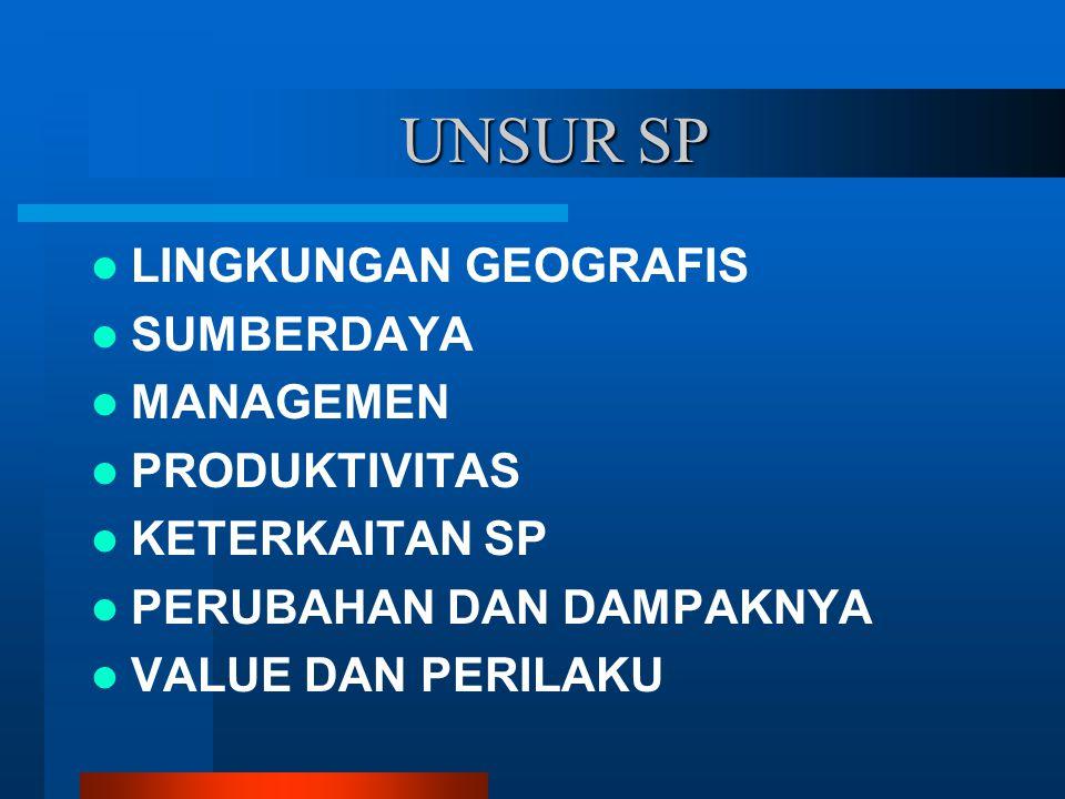 UNSUR SP LINGKUNGAN GEOGRAFIS SUMBERDAYA MANAGEMEN PRODUKTIVITAS