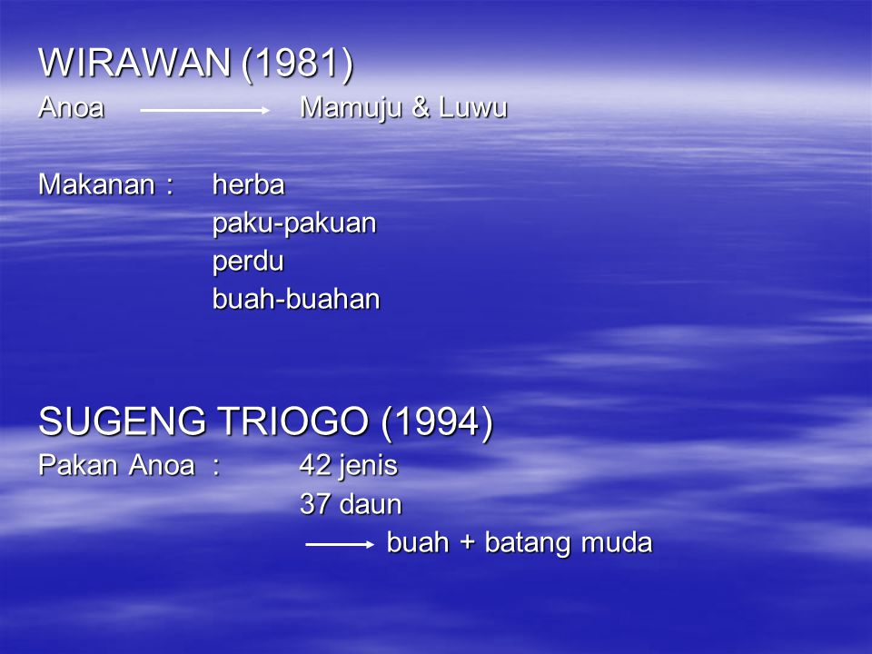 WIRAWAN (1981) SUGENG TRIOGO (1994) Anoa Mamuju & Luwu Makanan : herba