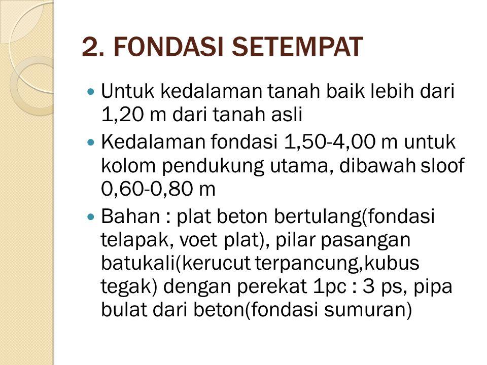 2. FONDASI SETEMPAT Untuk kedalaman tanah baik lebih dari 1,20 m dari tanah asli.