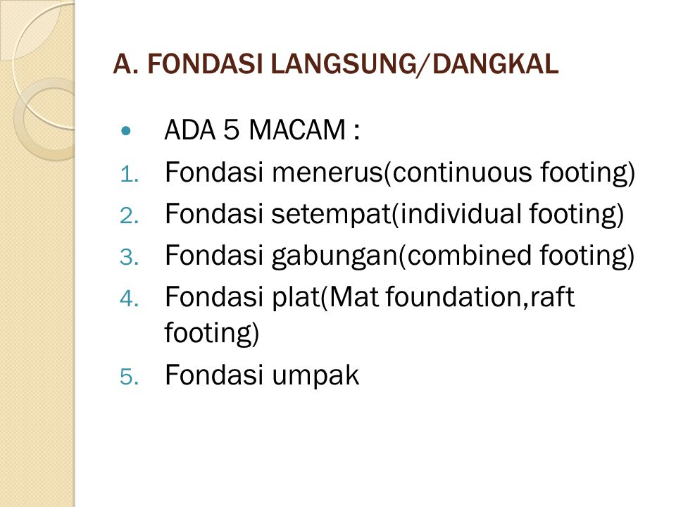 A. FONDASI LANGSUNG/DANGKAL