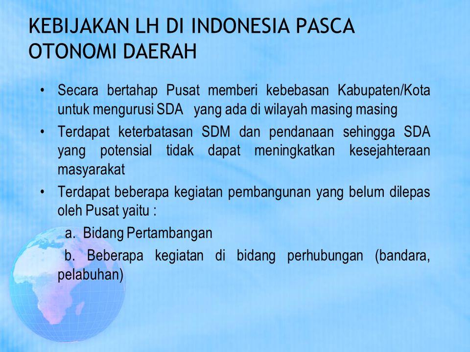 KEBIJAKAN LH DI INDONESIA PASCA OTONOMI DAERAH