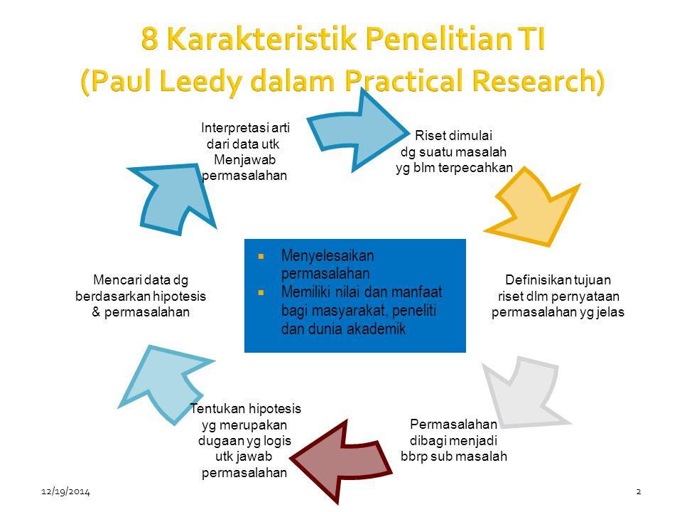 8 Karakteristik Penelitian TI (Paul Leedy dalam Practical Research)