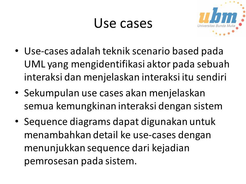 Use cases Use-cases adalah teknik scenario based pada UML yang mengidentifikasi aktor pada sebuah interaksi dan menjelaskan interaksi itu sendiri.