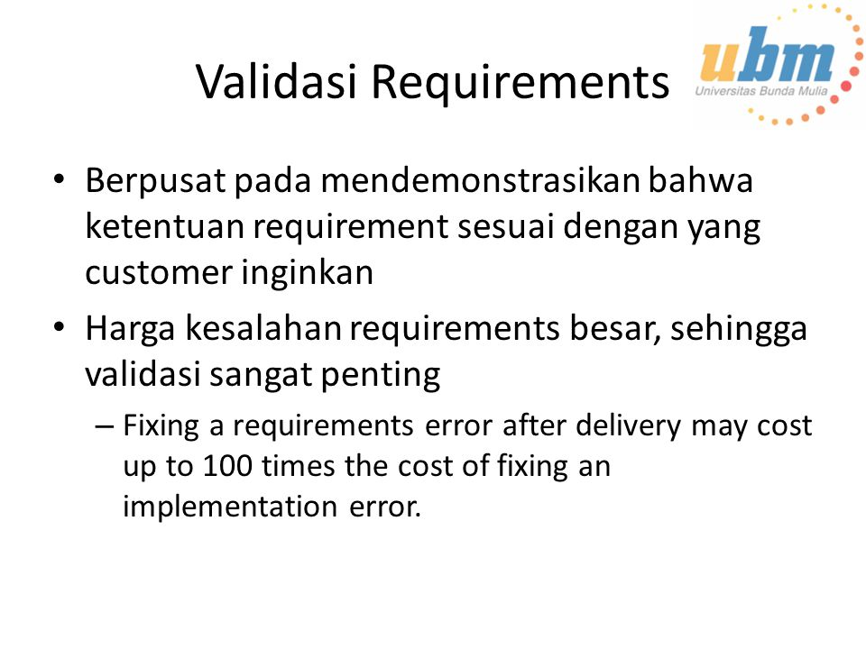 Validasi Requirements