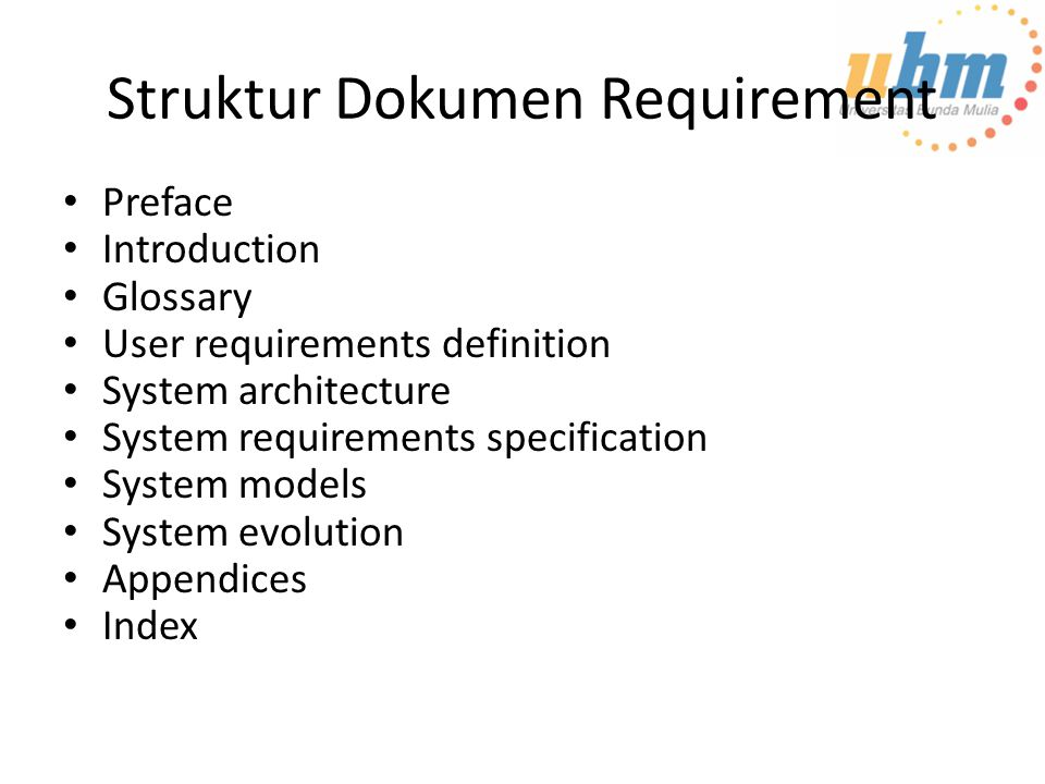 Struktur Dokumen Requirement