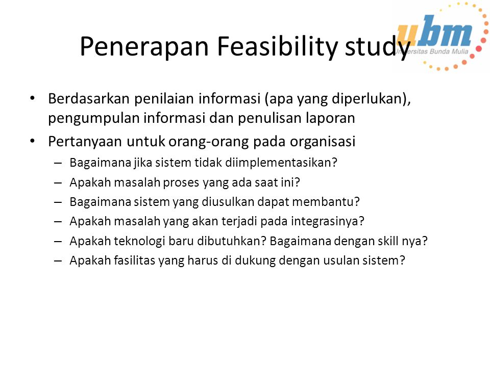 Penerapan Feasibility study