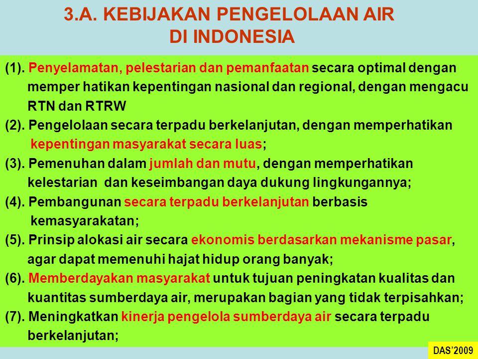 3.A. KEBIJAKAN PENGELOLAAN AIR