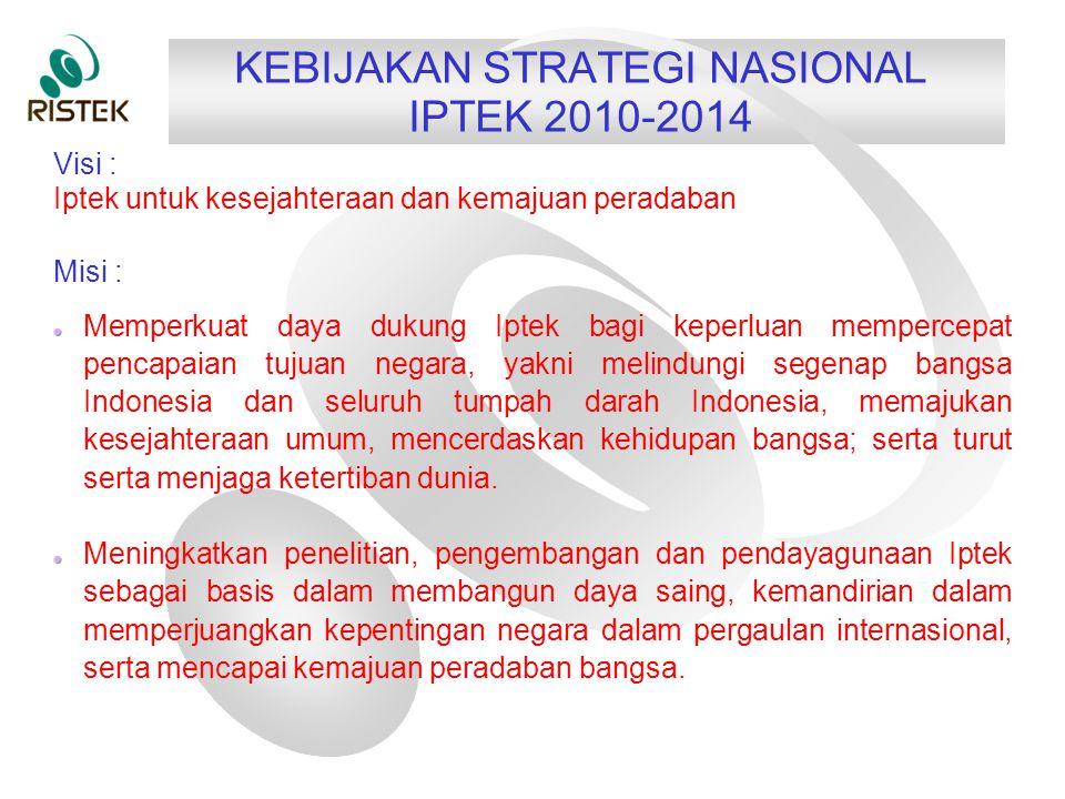 KEBIJAKAN STRATEGI NASIONAL IPTEK 2010-2014