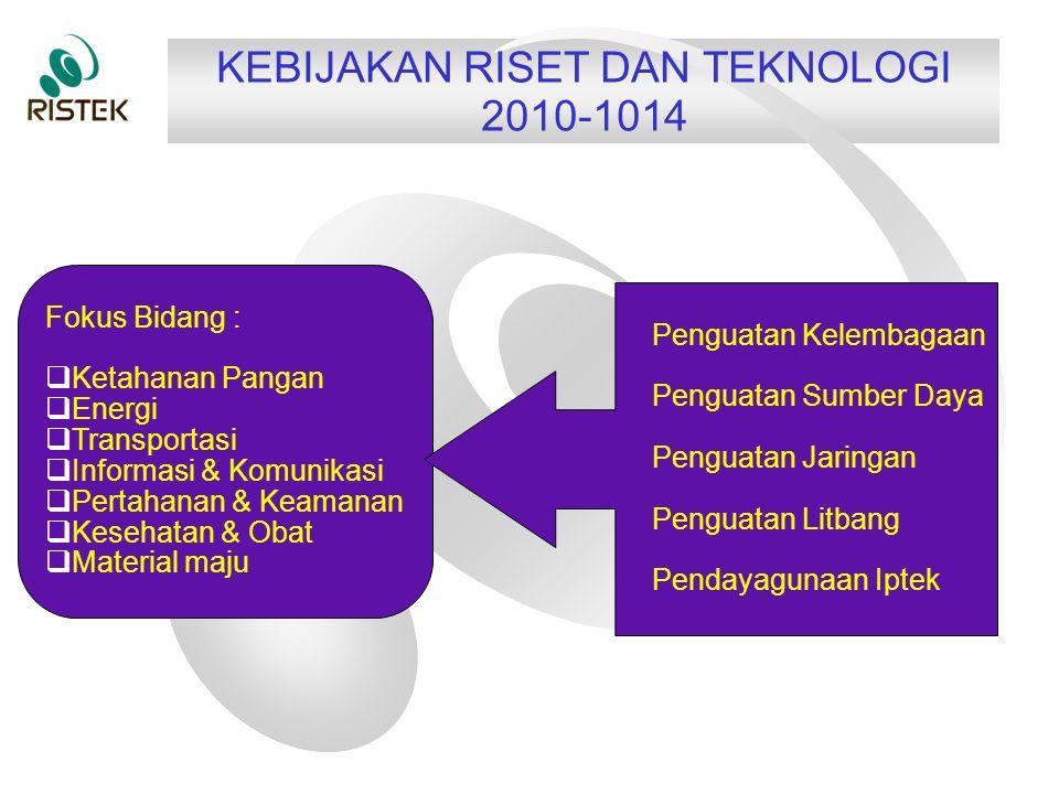KEBIJAKAN RISET DAN TEKNOLOGI 2010-1014