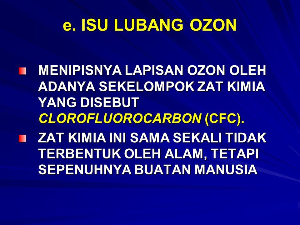 e. ISU LUBANG OZON MENIPISNYA LAPISAN OZON OLEH ADANYA SEKELOMPOK ZAT KIMIA YANG DISEBUT CLOROFLUOROCARBON (CFC).