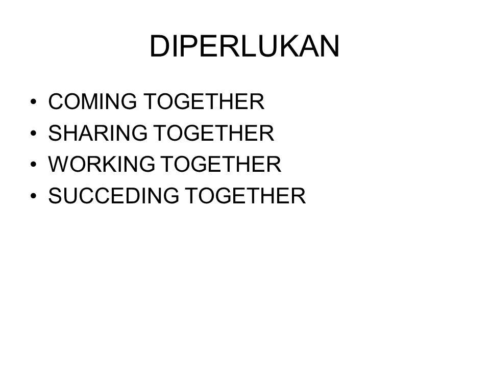 DIPERLUKAN COMING TOGETHER SHARING TOGETHER WORKING TOGETHER
