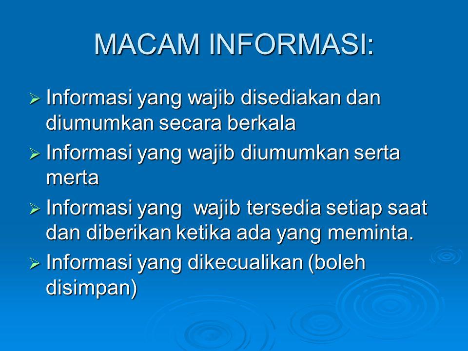 MACAM INFORMASI: Informasi yang wajib disediakan dan diumumkan secara berkala. Informasi yang wajib diumumkan serta merta.