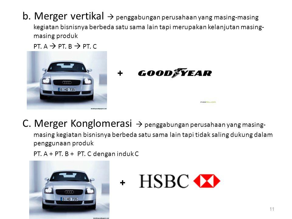 b. Merger vertikal  penggabungan perusahaan yang masing-masing kegiatan bisnisnya berbeda satu sama lain tapi merupakan kelanjutan masing-masing produk