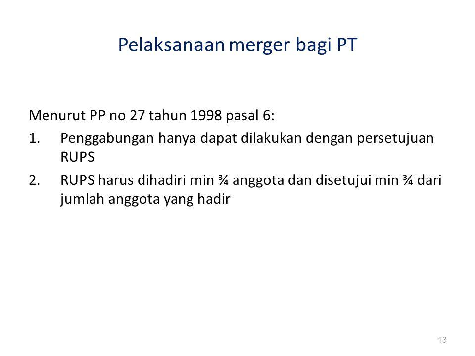 Pelaksanaan merger bagi PT