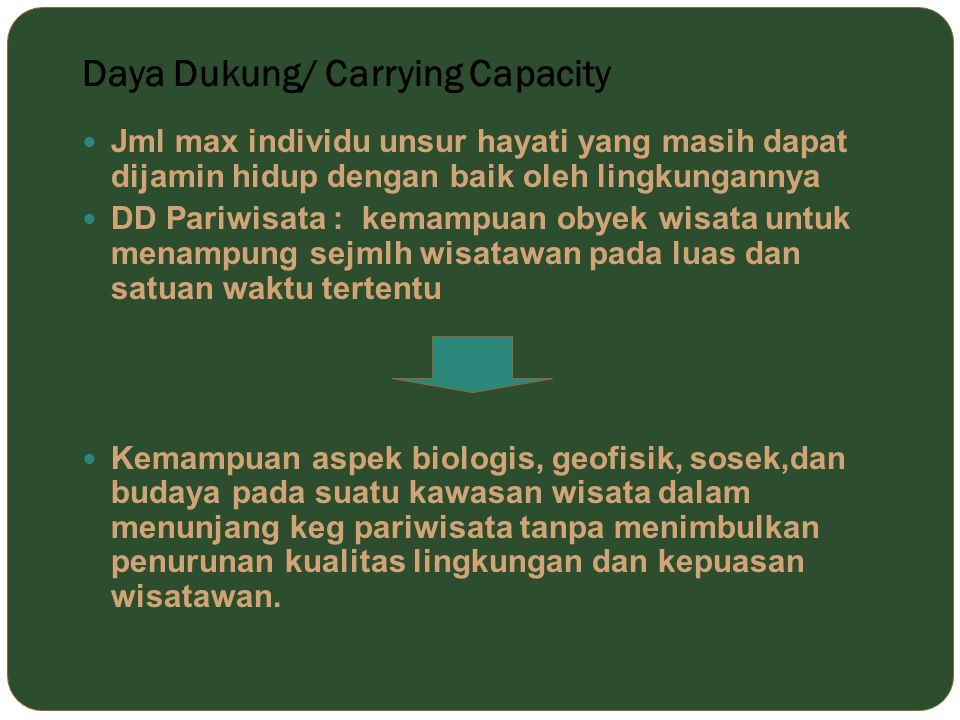 Daya Dukung/ Carrying Capacity