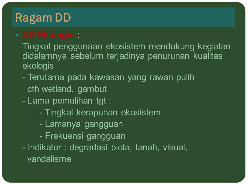 Ragam DD DD Ekologis : Tingkat penggunaan ekosistem mendukung kegiatan didalamnya sebelum terjadinya penurunan kualitas ekologis.