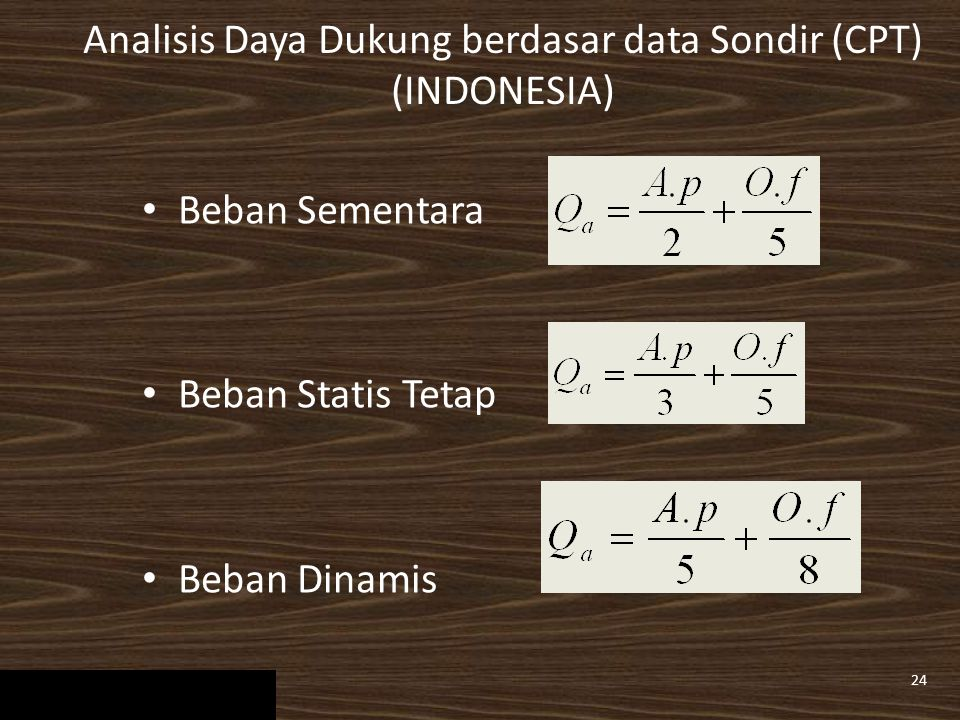 Analisis Daya Dukung berdasar data Sondir (CPT) (INDONESIA)