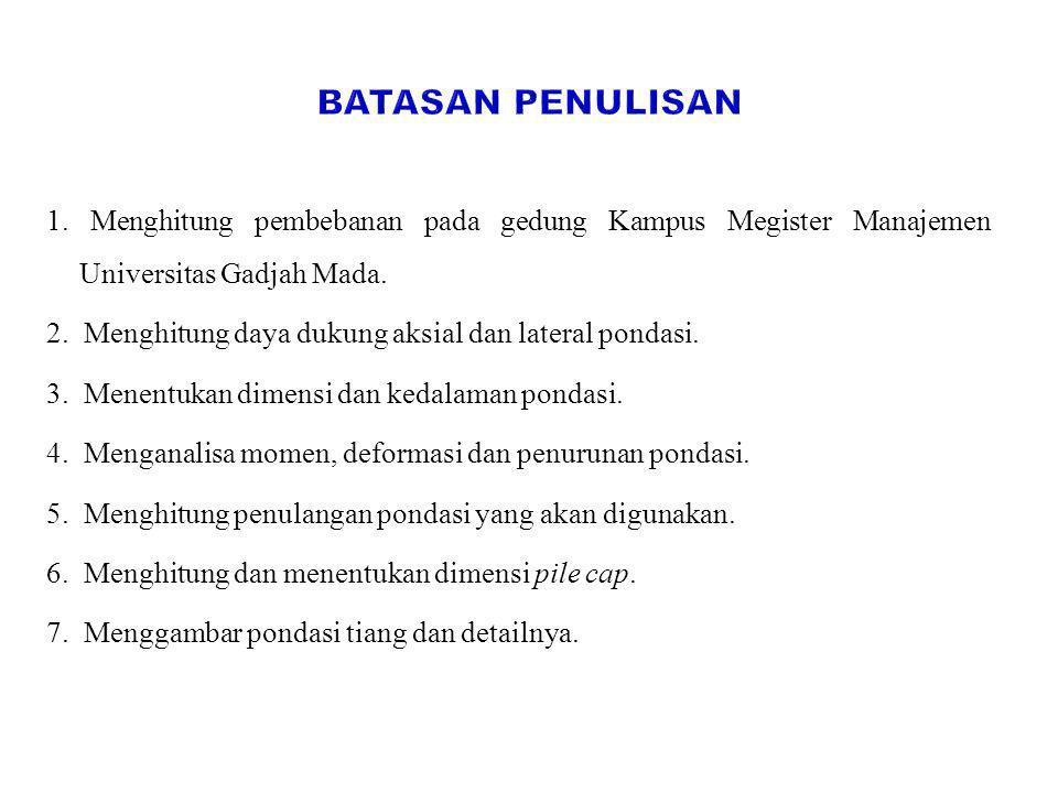 Batasan Penulisan 1. Menghitung pembebanan pada gedung Kampus Megister Manajemen Universitas Gadjah Mada.