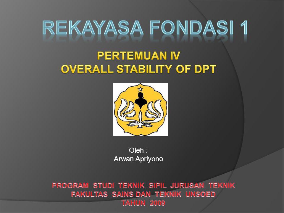 REKAYASA FONDASI 1 PERTEMUAN IV OVERALL STABILITY OF DPT Oleh :