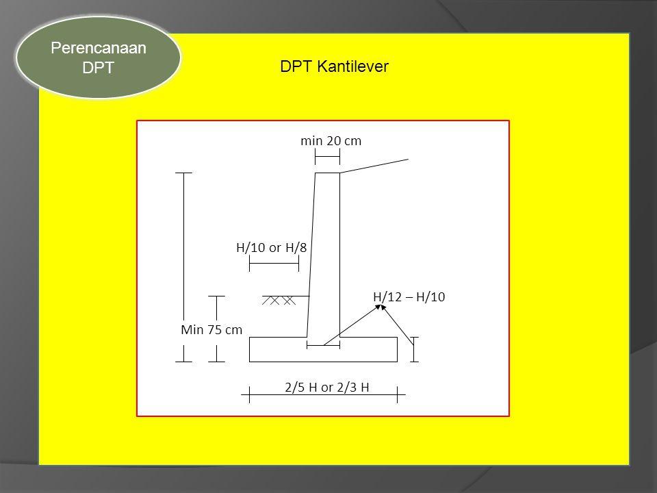 Perencanaan Sec DPT DPT Kantilever min 20 cm H/10 or H/8 H/12 – H/10
