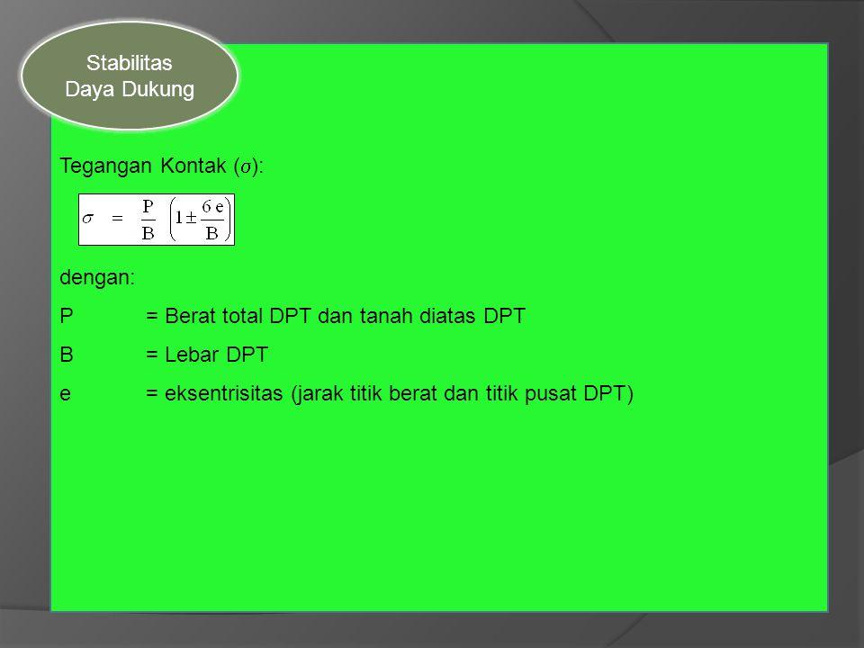 Stabilitas Daya Dukung. Tegangan Kontak (s): dengan: P = Berat total DPT dan tanah diatas DPT. B = Lebar DPT.