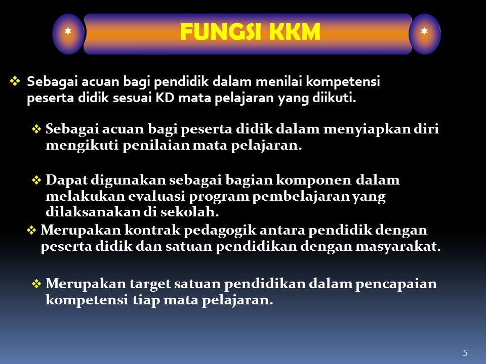 * FUNGSI KKM. Sebagai acuan bagi pendidik dalam menilai kompetensi peserta didik sesuai KD mata pelajaran yang diikuti.