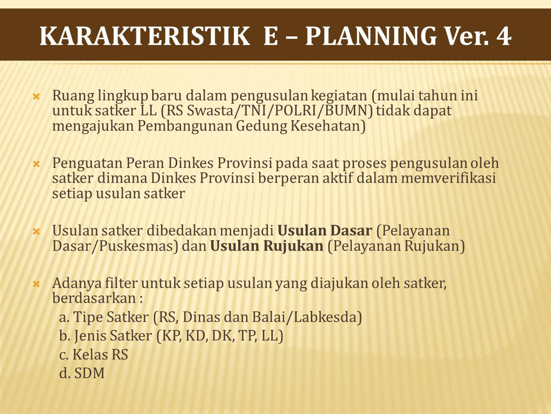 KARAKTERISTIK E – PLANNING Ver. 4