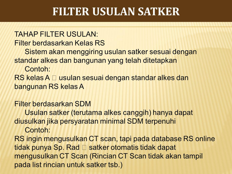 FILTER USULAN SATKER TAHAP FILTER USULAN: Filter berdasarkan Kelas RS