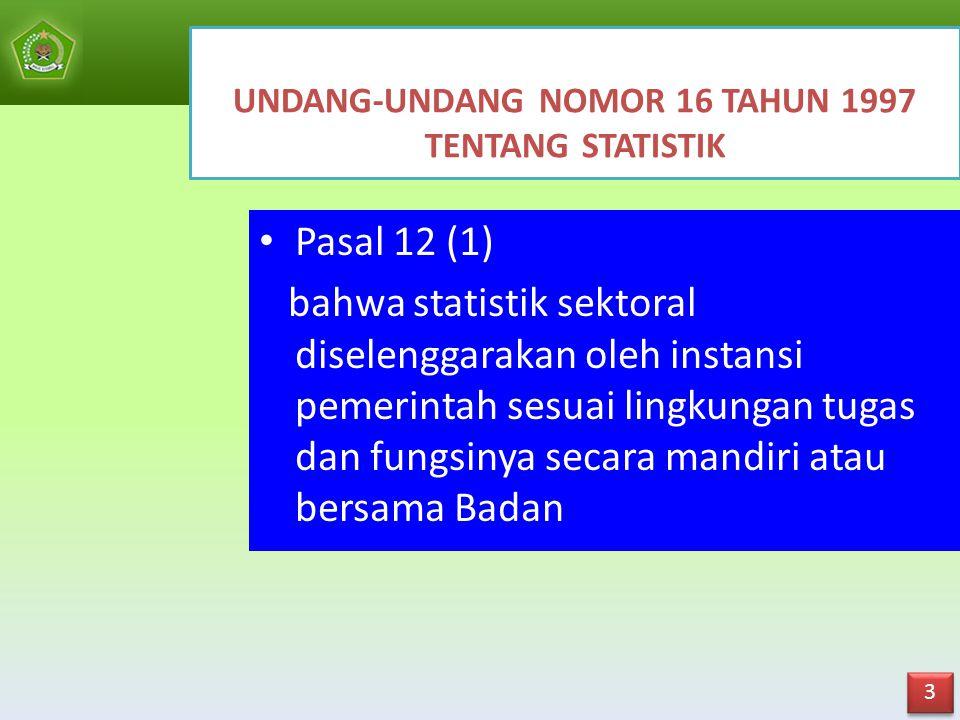 UNDANG-UNDANG NOMOR 16 TAHUN 1997 TENTANG STATISTIK