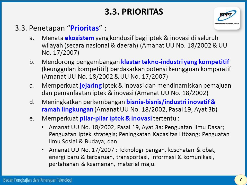 3.3. PRIORITAS 3.3. Penetapan Prioritas :