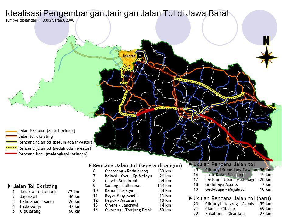 Idealisasi Pengembangan Jaringan Jalan Tol di Jawa Barat sumber: diolah dari PT Jasa Sarana, 2006