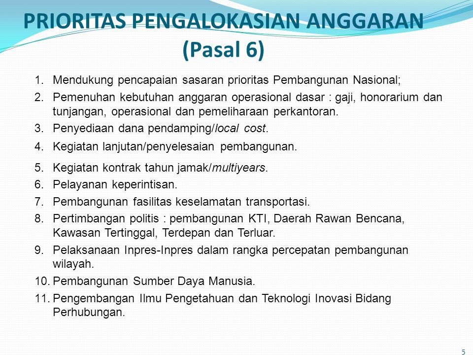 PRIORITAS PENGALOKASIAN ANGGARAN (Pasal 6)