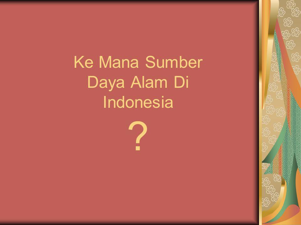 Ke Mana Sumber Daya Alam Di Indonesia
