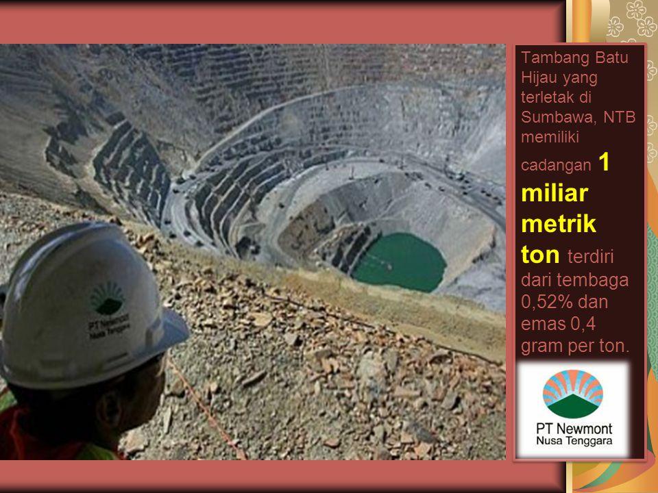 Tambang Batu Hijau yang terletak di Sumbawa, NTB memiliki cadangan 1 miliar metrik ton terdiri dari tembaga 0,52% dan emas 0,4 gram per ton.