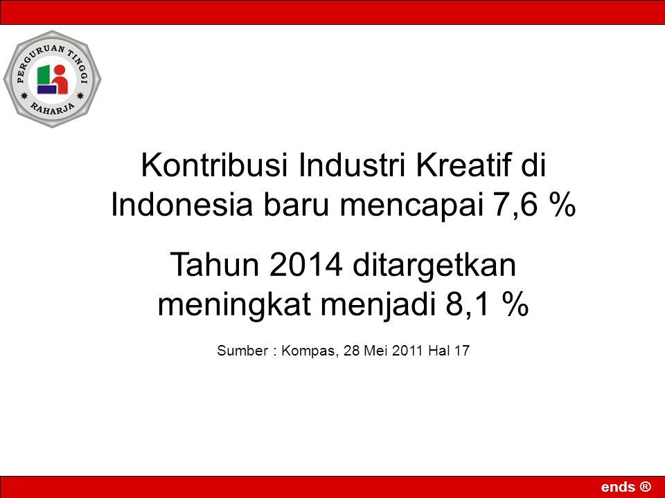 Kontribusi Industri Kreatif di Indonesia baru mencapai 7,6 %