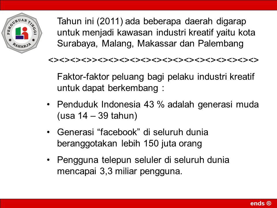 Tahun ini (2011) ada beberapa daerah digarap untuk menjadi kawasan industri kreatif yaitu kota Surabaya, Malang, Makassar dan Palembang