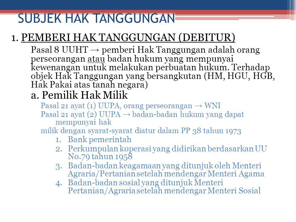 SUBJEK HAK TANGGUNGAN 1. PEMBERI HAK TANGGUNGAN (DEBITUR)