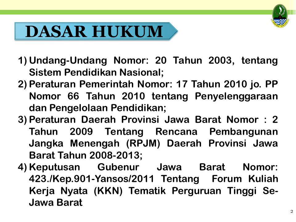 DASAR HUKUM Undang-Undang Nomor: 20 Tahun 2003, tentang Sistem Pendidikan Nasional;