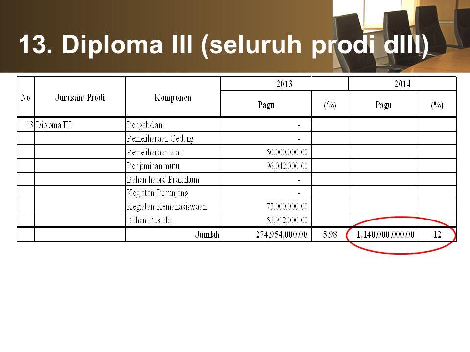 13. Diploma III (seluruh prodi dIII)