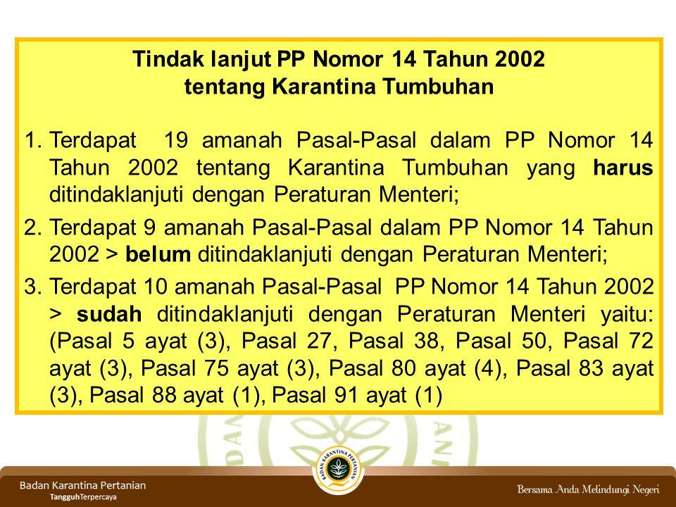 Tindak lanjut PP Nomor 14 Tahun 2002 tentang Karantina Tumbuhan