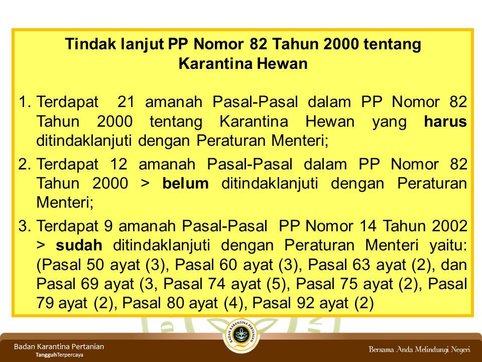 Tindak lanjut PP Nomor 82 Tahun 2000 tentang