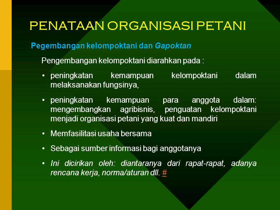 PENATAAN ORGANISASI PETANI