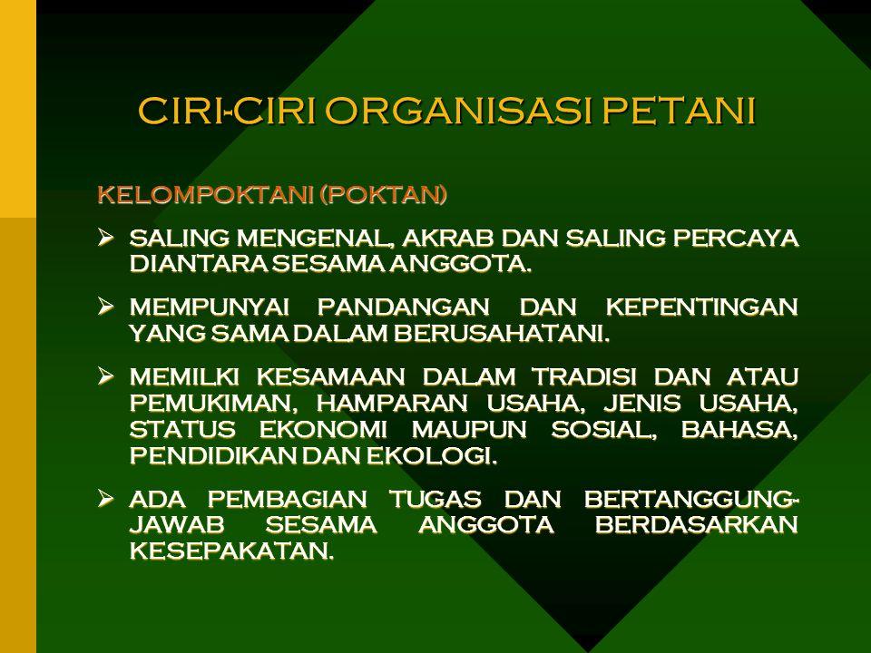 CIRI-CIRI ORGANISASI PETANI