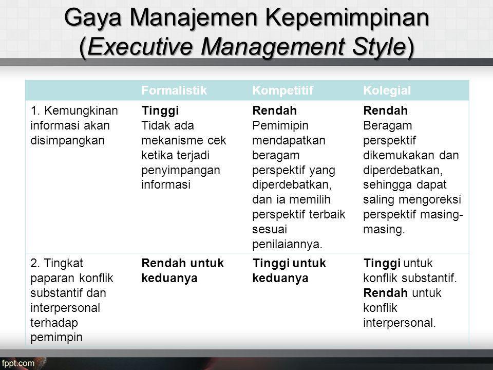 Gaya Manajemen Kepemimpinan (Executive Management Style)