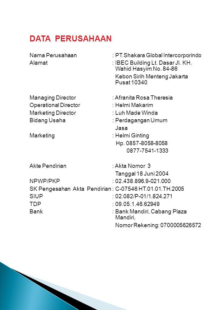 DATA PERUSAHAAN Nama Perusahaan : PT.Shakara Global Intercorporindo